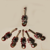 Bollywood Bridal Stunning Fancy Maroon white Teardrop Bead Bindis / Tribal Bindi in New Styles.