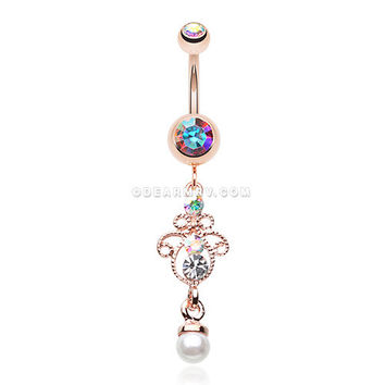 Rose Gold Elegant Jeweled Pearl Dangle Belly Button Ring (Aurora Borealis)