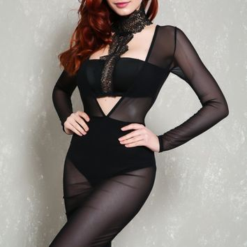 Sexy Black Mock Neck Sheer Long Sleeve Bodycon Party Dress
