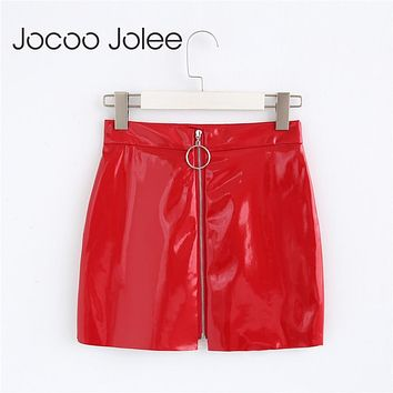 Jocoo Jolee 2018 Princess Wedding Party Prom Birthday Sequin Leather Skirt Zipper Solid Fashion Red Summer Girl Skirt New Coming