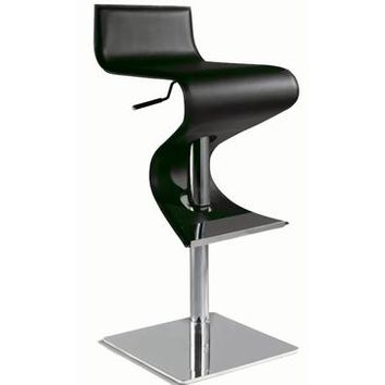 Chintaly 0833 Pneumatic Gas Lift Adjustable Height Swivel Stool In Black Rec. Leather