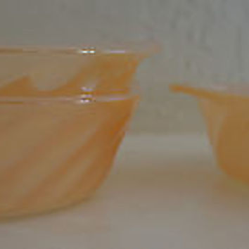 Anchor Hocking Fire King PEACH LUSTRE SWIRL Small CASSEROLE DISH/ BOWL   EXC