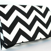 Chevron Clutch LIMITED EDITION Black and White ZigZag by FoxyVida
