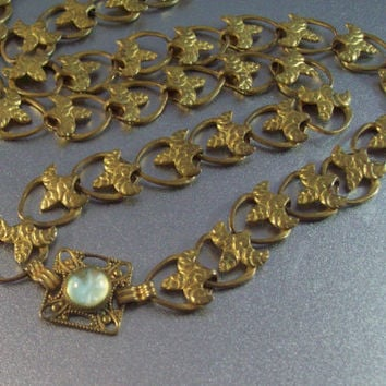 Vintage Victorian Swallow Necklace with Opalescent Star Sapphire Art Glass, Gilt Brass