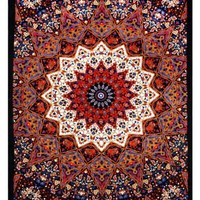 Red & Blue India Star Elephant Tapestry - Hanging Wall Art - Measures 60x90 Inches