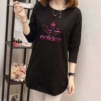 """Adidas"" Women Simple Casual Letter Clover Print Long Sleeve T-shirt Irregular Bottoming Tops"
