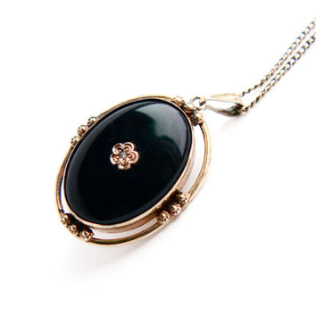 Vintage Locket Necklace - Gold Filled on Sterling Onyx Black Stone Pendant Rhinestone Flower Victorian Revival AMCO Jewelry / Secret Locket