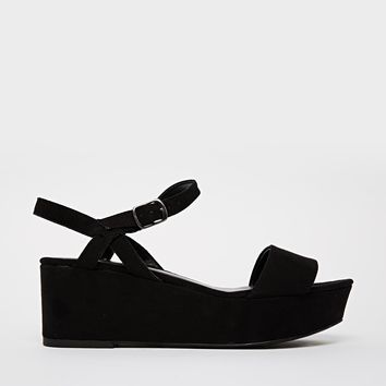 New Look Prawn Black Flatform Heeled Sandals