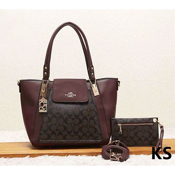 COACH Fashion New Leather Shopping Leisure Shoulder Bag Handbag Two Piece Suit Women Coffee
