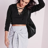 Missguided - Petite Lace Up Sweater Black