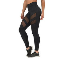 leggings for women mesh splice fitness slim black legging pants plus size sportswear clothes leggings SM6