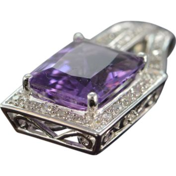 Emerald-Cut Amethyst Pave Diamond Necklace Pendant 14K White Gold