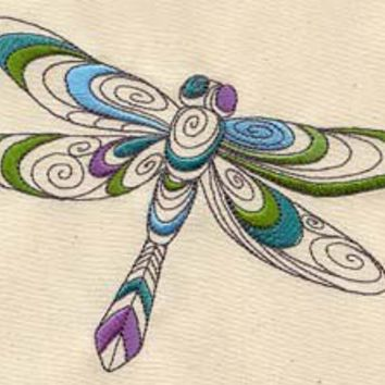 Dragonfly spiral embroidered baby bib by MorningTempest on Etsy