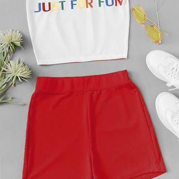 Letter Print Tube Top With Shorts