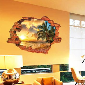 3D broken sunset scenery seascape island coconut trees Household adornment wall stickers decals wallpaper art poster