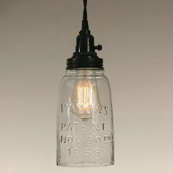 Clear Glass Half Gallon Open Bottom Mason Jar Pendant Lamp