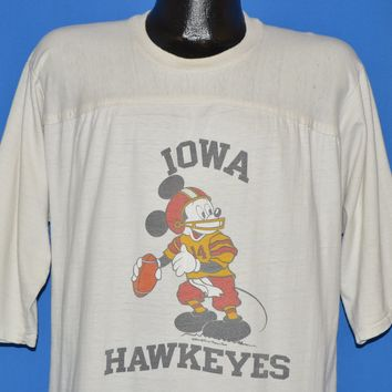 80s Iowa Hawkeyes Mickey Mouse Football t-shirt Extra Large