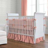 Solid Light Coral Crib Bedding  14-Inch Gathered Crib Skirt