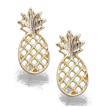 Gold Pineapple Post Earrings