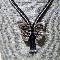 Black silver butterfly necklace with fringes and Swarovski crystal, black silver necklace, beaded jewelry, handmade butterfly, one of a kind