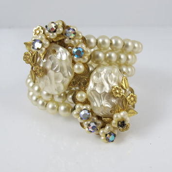 Miriam Haskell Pearl Bracelet Coil Wrap Baroque Button Pearl Rhinestone Bangle Bracelet, Vintage 1950s Unsigned Miriam Haskell Pearl Jewelry