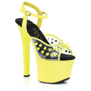 "Ellie Shoes Solar 7"" Neon Platform Black Light Reactive Spikes Yellow Nine"