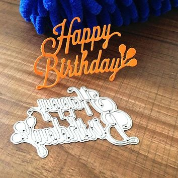 1Pcs Happy Birthday Metal Cutting Dies Scrapbooking Paper Craft Die Decorative Embossing Stencils