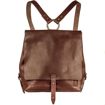 Small Handmade Leather Backpack - Bordeaux