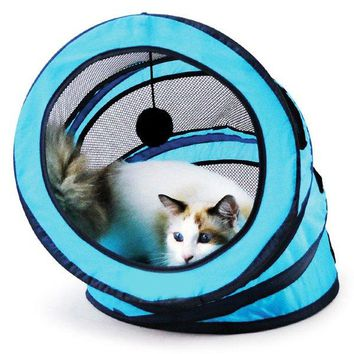 Pet Toy Breathable Folding Spiral Cat Tunnel or Bed