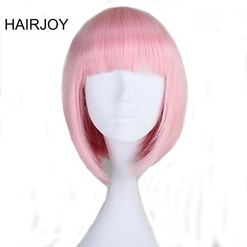 Capless Short Straight BOB Light Pink Synthetic Wig Full Bang 8 Colors