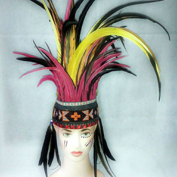 Rave Headdress, Indian headdress, Warrior headpiece, Festival Headdress, Burning man, Christmas gift, Native American Warbonnet