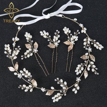 TREAZY Charm Gold Color Floral Headbands Pearl Crystal Bridal Hairpins Headdress Wedding Hair Accessories Bride Tiara Headpiece