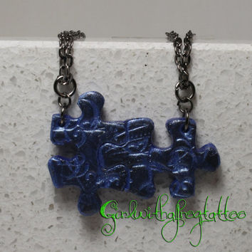 Puzzle Pieces Necklace Set Polymer clay Necklace Butterflies and Swirls Set 289