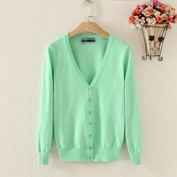 2015  autumn and winter new arrival colors women sweater plus  size    v neck  knitted   cardigan 3XL