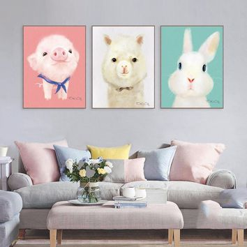 3PCS Lovely Cartoon Animal Canvas Art Print Painting Cute Rabbit Pig Dog Poster Wall Picture For Home Decoration Wall Decor