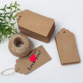 G2PLUS® 100 PCS Kraft Paper Gift Tags with String Wedding Brown Rectangle Craft Hang Tags Bonbonniere Favor Gift Tags with Jute Twine 30 Meters Long for Crafts & Price Tags Labels