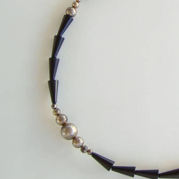 Old Art Deco Black Necklace Silver Plated Flapper Vintage Jewelry