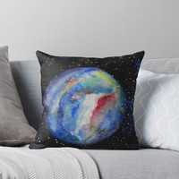 'Space Watercolor Planet' Throw Pillow by Manitarka
