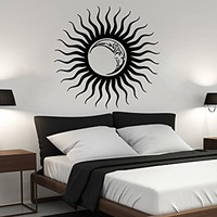 Wall Decal Sun Moon Sunshine Stars Crescent Dual Ethnic Night Symbol Vinyl Sticker Decals Nursery Home Decor Bedroom Art Design Interior NS823