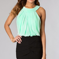 Short Sleeveless High Neck Dress