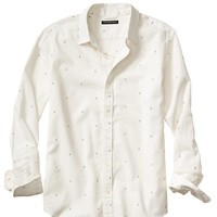 Banana Republic Mens Factory Linen/Cotton Anchor Print Shirt