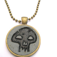 Skull Necklace  Hand Carved Leather Black Mana  Jewelry Gamer Necklace  Mana Necklace Gamer Gift  Gamer Jewelry Unisex Necklace