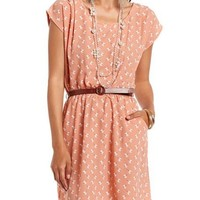 Belted Ditsy Floral A-Line Dress: Charlotte Russe