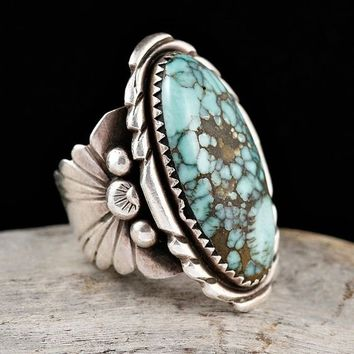 925 Sterling Silver Natural Turquoise Gemstone Floral Flower Anniversary Wedding Engagement Ring