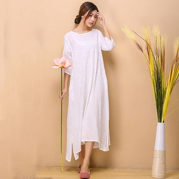 White Cotton Linen Dress Women Summer Swing Dresses Chinese Style Long Robe O Neck Soft Mori Girl Mid Dress Z30WR52