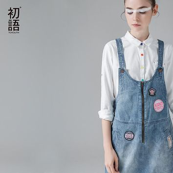 Toyouth 2017 Summer New Arrival Women Suspender Dress Denim Preppy Style One-Piece Dress Lady Knee-Length Sleeveless Dress
