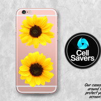 Sunflower Clear iPhone 6s Case iPhone 6 Case iPhone 6 Plus iPhone 6s Plus iPhone 5c iPhone 5 iPhone SE Clear Case Yellow Flower Tumblr Cute