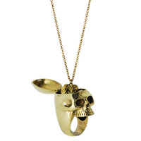 Skull Brass Ring with Brain Necklace 2pc Set