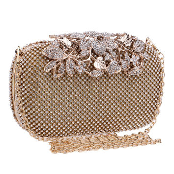 Metal Flower Crystal Evening Bag Clutch Bags Clutches Wedding Purse Rhinestones