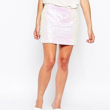 Glamorous | Glamorous Mini Skirt in Irredescent Sequins at ASOS